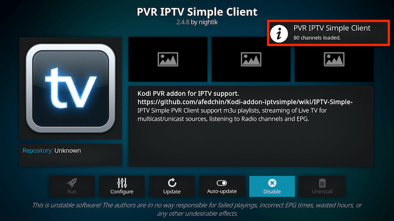 Få in kanalerna på IPTV Simple Client 10