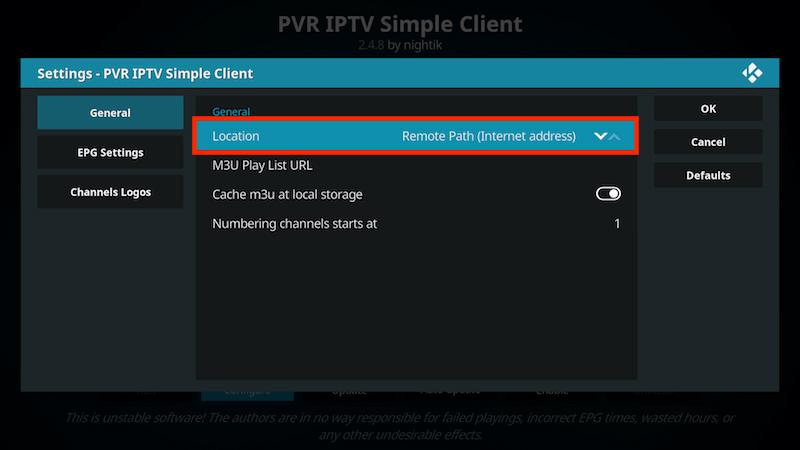 Få in kanalerna på IPTV Simple Client 7