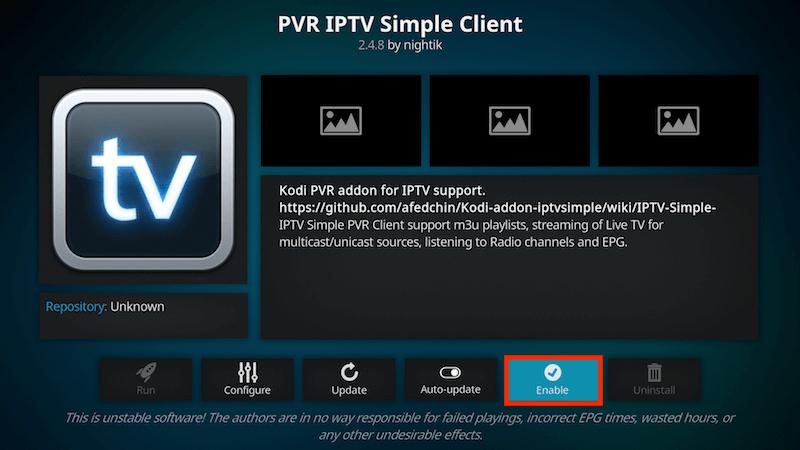 Få in kanalerna på IPTV Simple Client 9