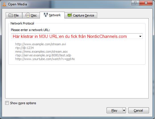 Få in kanalerna på VLC - NordicChannels